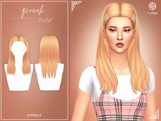 Peach Hairstyle New Mesh 18 EA Swatches All Lods Base Game Compatible Include Clips (Hat Category) 25 Swatches (Palette credits to Works with hats Teen to Elder Hope you like it! Sims 4 Body Mods, Sims Mods, Sims 4 Cc Packs, Sims 4 Mm Cc, Maxis, Sims 4 Tsr, Sims 4 Collections, Pelo Sims, Sims Hair