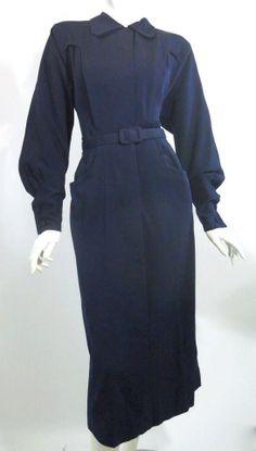 Vintage Noir Girl Deep Blue Gabardine Coat w/ French Cuffs 1940s