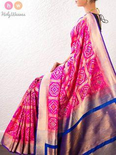 #Pink #Handwoven #Katan #Silk #Gharchola #Brocade #Saree #HolyWeaves