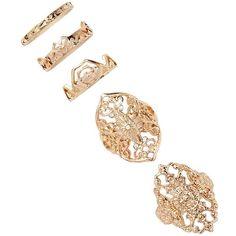 Forever21 Filigree and Abstract Ring Set ($5.90) ❤ liked on Polyvore featuring jewelry, rings, accessories and jewelry, gold, jewelry and accessories, yellow gold rings, filigree band ring, forever 21 jewelry, channel-set band ring and polishing gold rings