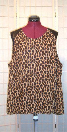 Sexy Ali & Kris Sz 3X Leopard Print & Faux Leather Tank Top Lined #AliKris #TankCami