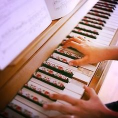 floral piano keys