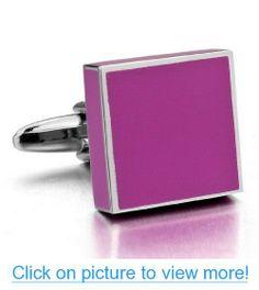 JBlue Jewelry men's Rhodium Plated Cufflinks Silver Pink Shirt Wedding (with Gift Bag)