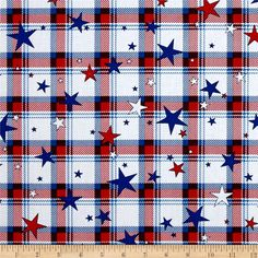 Kanvas All American Plaid White from @fabricdotcom  Designed by Maria Kalinowski for Benartex, this fabric is perfect for quilting, apparel and home decor accents. Colors include shades of red, white and blue.