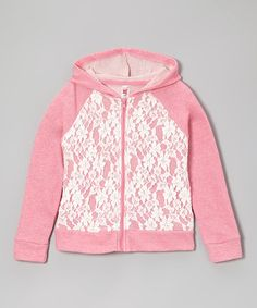 Take a look at this Pink Lace Zip-Up Hoodie by Beautees on #zulily today!