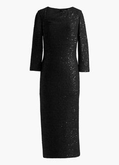 An elegant dusting of sequins illuminates this knit asymmetrical neck dress.Always complementary delivery and returns. Designer Evening Gowns, Designer Dresses, Day Dresses, Dress Outfits, Cocktail Outfit, How To Look Skinnier, Jumpsuit Dress, Black Sequins, Couture Dresses