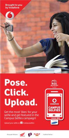 Vodafone, Campus Selfie! Web Design, Design Ideas, Graphic Design, Campaign, Politics, Bring It On, Layout, Ads, Templates