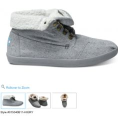 Highlands Grey Wool Fleck Fleece Women's Botas #toms
