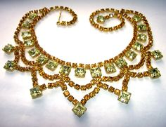 Here is a Stunning … Vintage Huge Unsigned Weiss Lemon Lime Yellow Rhinestone Tiara Bib Necklace Juliana Style.  It's about 16 1/2 ...  #gold #orange #square #yellow