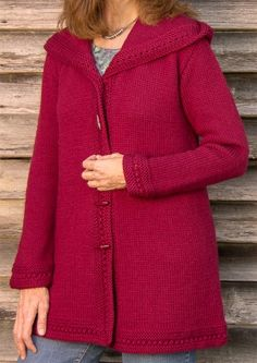 Boston Top-Down Hooded Coat-- knitting pattern for larger sizes