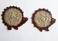 Adorable crochet hedgehog coaster mug pad brown by MKedraHandmade, $6.50