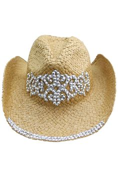 This basic woven paper straw cowboy rocker hat is all studded up   ready to  go f0ba83191d9a