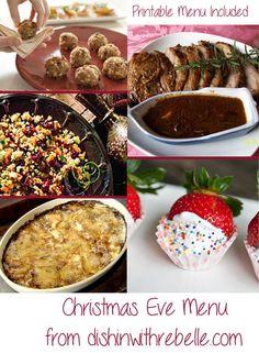 Christmas Eve menu with printable ( menu or blank) @ dishinwithrebelle.com #christmas #christmasrecipes #christmaseve #holidays