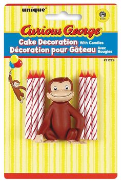 Complete with 6 colorful birthday candles and a plastic cake topper featuring Curious George, this convenient set is perfect for a birthday party. Curious George Party, Curious George Cake Topper, Curious George Cakes, Curious George Birthday, Third Birthday, 3rd Birthday Parties, Baby Birthday, Birthday Ideas, Birthday Decorations