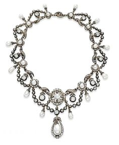 From Elizabeth Taylor's Collection, a gift from Richard Burton -- what an amazing piece...  ANTIQUE NATURAL PEARL AND DIAMOND NECKLACE / c. 1860 / sold thru Christie's for $ 1.4 million