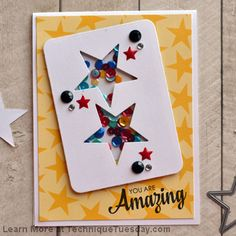 You Are Amazing Shaker Story Card Use My 3 Stitched Star Dies