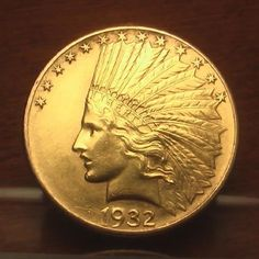 Beautiful 1932 Gold $10 Indian Head Eagle Coin ~ BU ~ To see more please CLICK HERE - www.10dollargoldcoin.net/10-indian-head-eagle-coin/