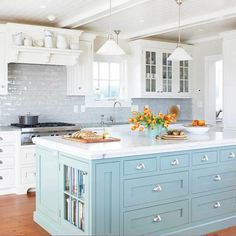 Modern Kitchen Design – Want to refurbish or redo your kitchen? As part of a modern kitchen renovation or remodeling, know that there are a . Light Blue Kitchens, Cool Kitchens, White Kitchens, Coastal Kitchens, Farmhouse Kitchens, Dream Kitchens, Farmhouse Sinks, Custom Kitchens, Kitchen Colour Schemes