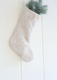 Christmas Stockings, Chenille Velvet stocking, IVORY White Stocking, Exclusive Christmas Stockings by GreenwoodStore on Etsy