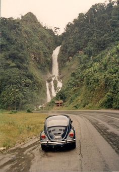 I took a photo of this waterfall on a bus from Manta to Quito in Ecuador. Te Amo