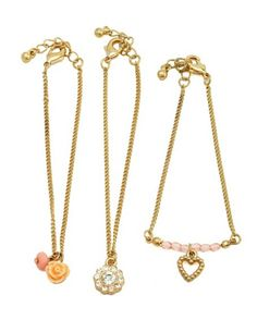 Rosette & Heart Friendship Bracelet Set: Charlotte Russe