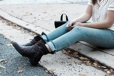 Leather booties for fall