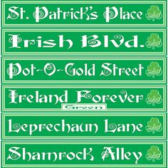 St Patrick's Day Street Signs decorations £3.65