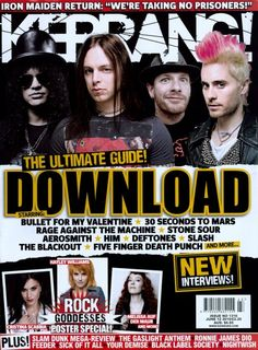 Jared on the cover of Kerrang! Bullet For My Valentine, Stone Sour, Rage Against The Machine, Five Fingers, Thirty Seconds, Aerosmith, Iron Maiden, Cool Bands, Mars