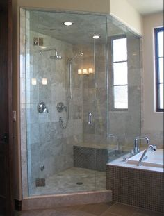 You can add convenient shower with corner shower stall with seat to get some advantages at your shower room. Bathroom Tile Designs, Glass Bathroom, Bathroom Interior, Master Bathroom, Bathroom Ideas, Bathroom Gray, Shower Ideas, Bathroom Showers, Bathroom Organization