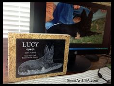 R.I.P. Lucy ....www.StoneArtUSA.com ~ I've been making custom memorials out of granite since 2001. The granite is laser etched with your pet's photo and your words. Markers will stay beautiful for generations in the yard or cemetery. Memorial stones can be made for people too. Order on-line. Let me know if you have any questions, Eric @ StoneArtUSA