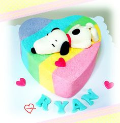 Loving Creations for You: 'Snoopy in love' Rainbow Tiedye Heart Chiffon Cake...