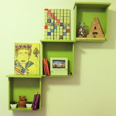 Re-purposed drawers as shelves!