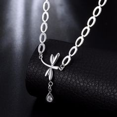 2017 Luxury water drop zircon Charm necklace silver plated Fashion Animal Dragonfly necklace for women wedding gift jewelry #Affiliate