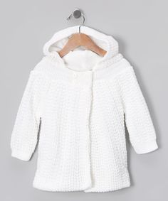 Love this Tots Fifth Avenue White Knit Hooded Cardigan - Infant by Tots Fifth Avenue on #zulily! #zulilyfinds