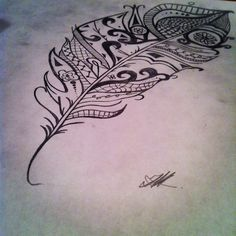 tribal feather tattoo i drew, getting this in a month or so on my hipp!