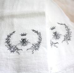 French Tea Towels, set of 2. 'French Bee with Crown' on softest flour sack white cotton. French Country decor.