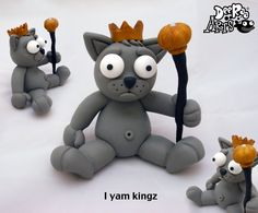 Dee Raa Arts polymer clay sculpey fimo King Cat king cat grumpy cat ruler queen kitty pussy cute kawaii