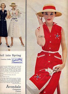 Avondale Cotton Nautical Dresses 1955 Vogue