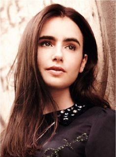 lily collins long hair