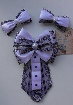 Ribbon Jewelry, Ribbon Art, Diy Ribbon, Ribbon Crafts, Ribbon Bows, Tie Crafts, Diy And Crafts, Ribbon In The Sky, Women Bow Tie