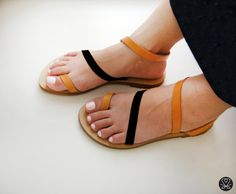 Sandals  Genuine Greek Leather Sandals in Tan and by Sandelles, €29.00