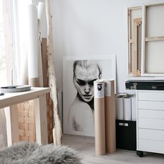 Alex storage from IKEA and a neutral palette in my studio. Art studio www.artbylove.no Anna Bülow Poster: Face 1