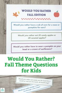 These fall themed would you rather questions for kids are filled with pumpkins, apples and corn mazes! A fun would you rather game for kids, tween and perfect for the classroom, too. Would You Rather Game, Would You Rather Questions, This Or That Questions, Kids Questions, Easy Fall Crafts, Crafts For Kids To Make, Happy Mom, Happy Kids, Kids Fun