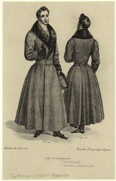 Redingote - a palavra vem de riding coat, ou casaco para cavalgar. Do guarda roupa masculino passou também para o feminino. Na imagem a cintura é muito marcada, mas isso é um fashion plate que exagera um pouco. Na vida real, era mais confortável. -Winter redingote. Men -- Clothing & dress -- France -- 1830-1839