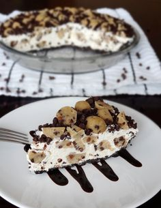Chocolate Chip Cookie Dough Ice Cream Pie with oreo crust!! yum
