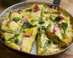 Broccoli frittata recipe made with potato, ham and cheese for a quick but nutritious recipe