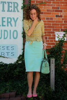 A mint denim skirt modest Fashion Style Blog   Modest Outfits   Clothed Much