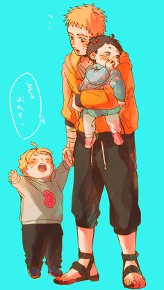 NARUTO - Naruto, Boruto, and Himawari.