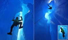 Climbers capture glowing images as they descend down ice shaft