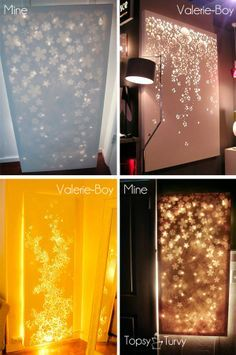 I soo want to do this!! Lit up canvas wall decor- use any canvas, apply stickers, decal, etc., and spray paint. Remove Decals; hang white lights behind ( better Than A Night Light :D )